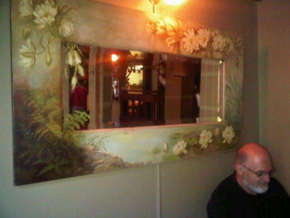 Portland Old Town Pizza folk art mirror 2010 July.jpg