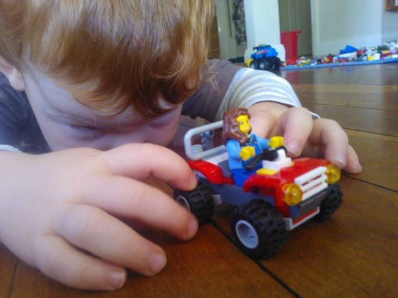 2013-11-11 Harry built a lego model of Grandy riding the quad bike.jpg